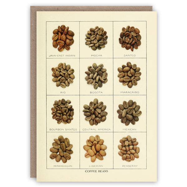 Coffee beans pattern book greeting card