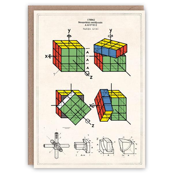 Rubik's cube pattern book greeting card