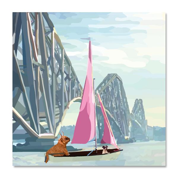 Sailing on the forth rail bridge greeting card