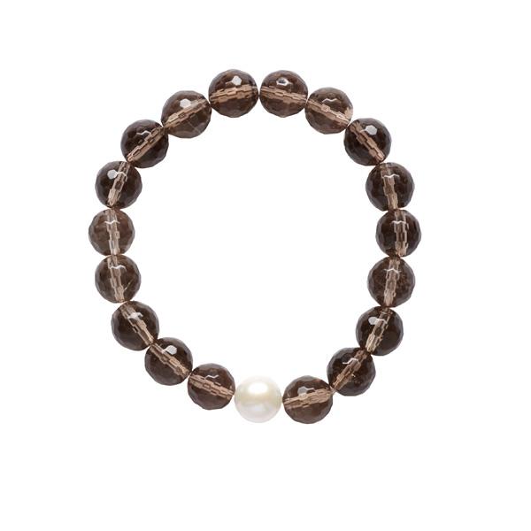 White pearl and smoky quartz bracelet