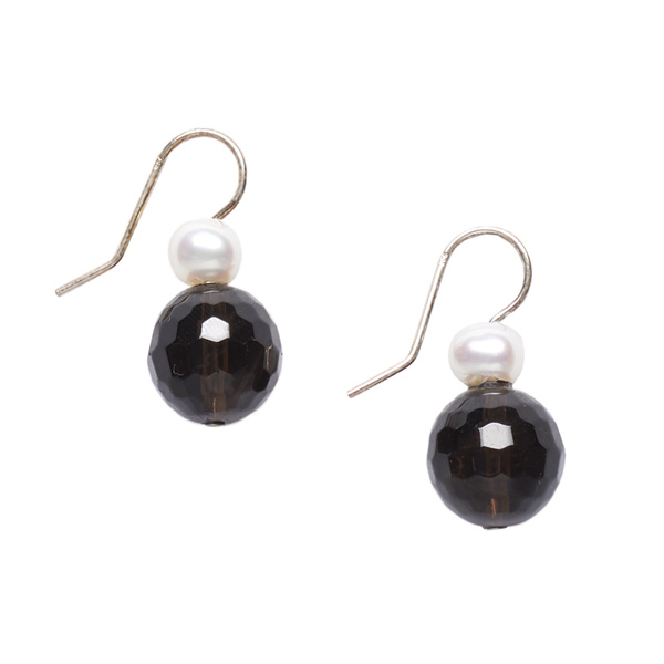 White pearl and smoky quartz bead earrings