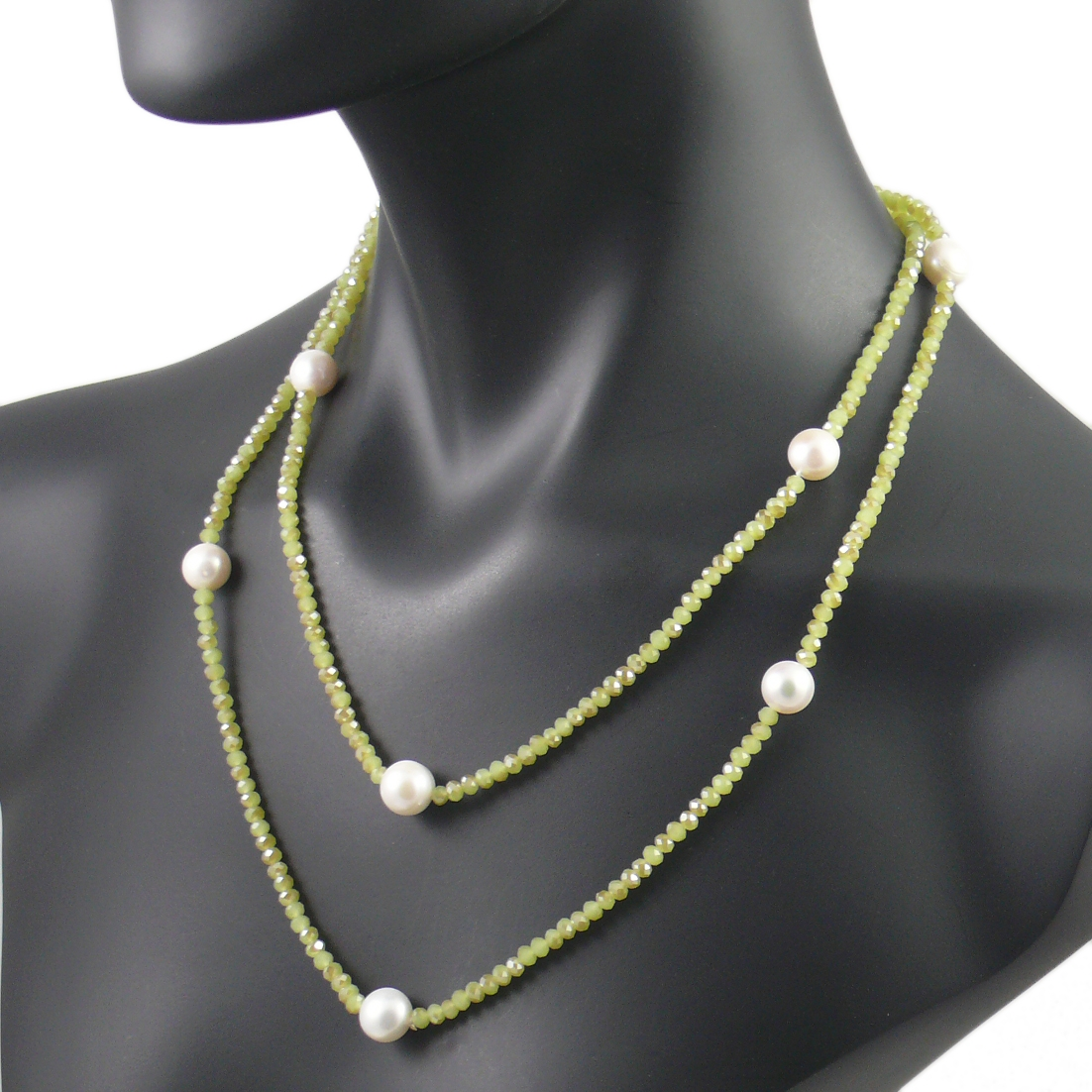 The Real Pearl Green Crystal Necklace