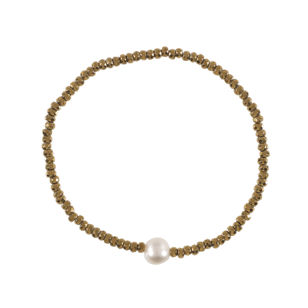 Gold hematite and white pearl bracelet