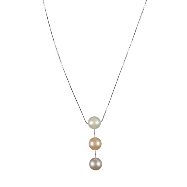 The Real Pearl White, Pink and Lavender Pearl Drop Necklace