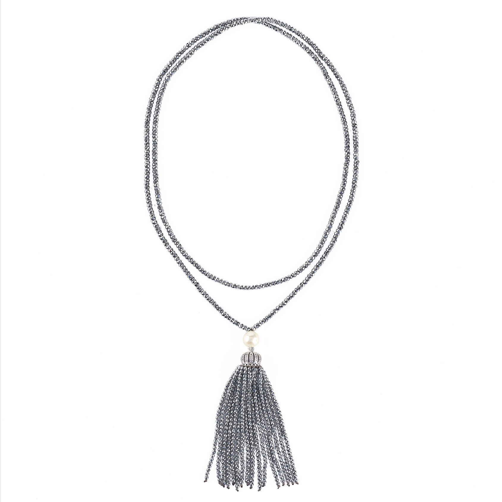 The Real Pearl Silver Hematite and Pearl Tassel Necklace