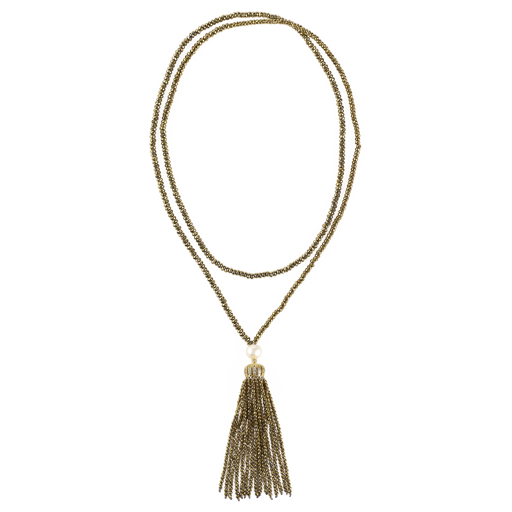 Gold hematite and white pearl tassel necklace