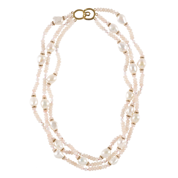 Pink jade and white pearl three strand necklace