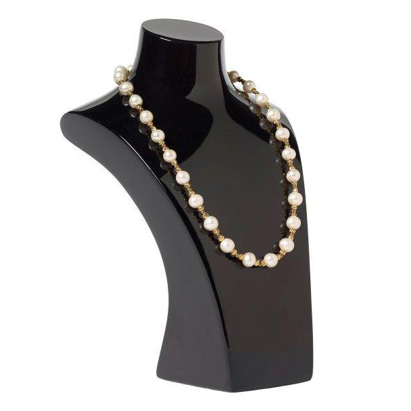 White pearl and brass bead necklace
