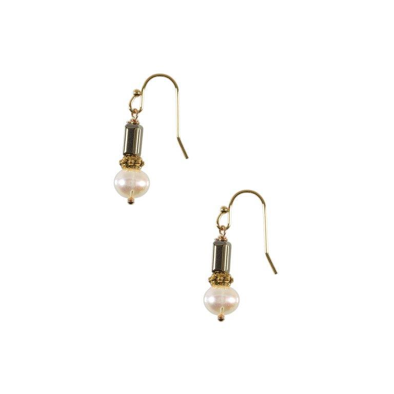 Gold hematite with brass and white pearl drop earrings