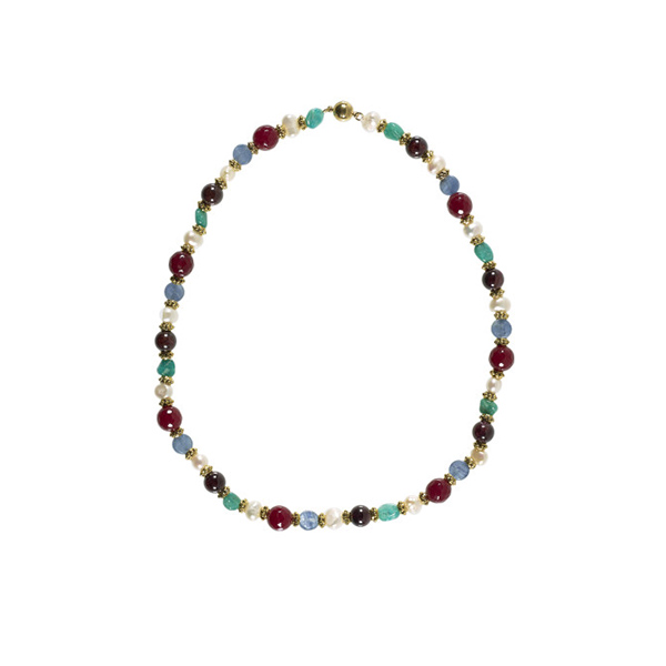 Kyanite, jade and garnet with brass and white pearl necklace