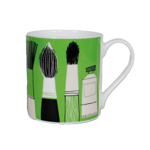 Gallery green brush mug