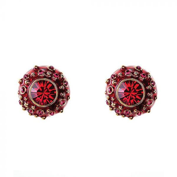 Swarovski Crystal and enamel coral stud earrings