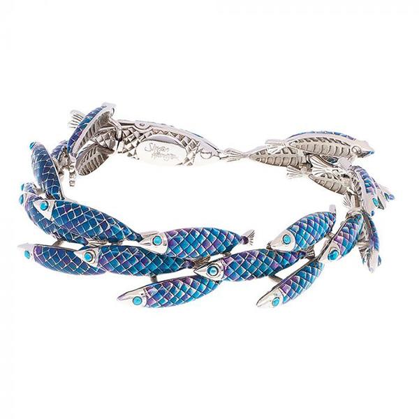 Hand enamelled blue Electra bracelet