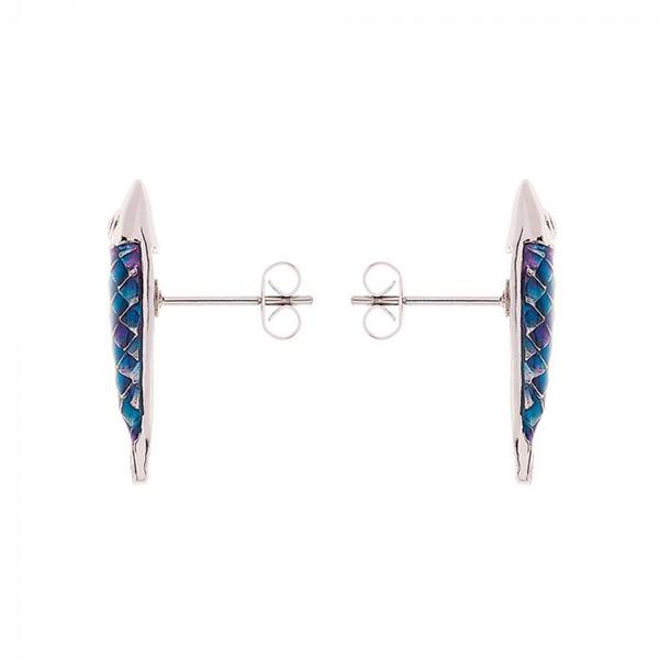 Hand enamelled blue Electra fish shaped earrings