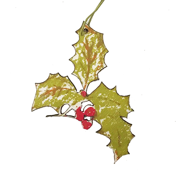 Holly sprig hand printed wooden decoration