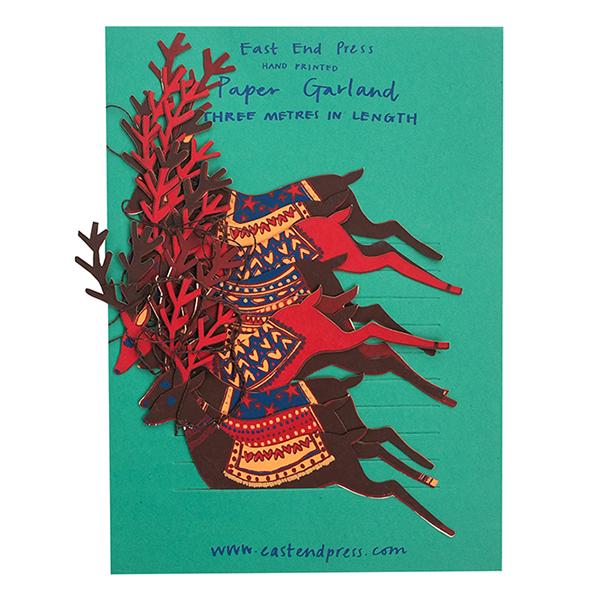 Hand printed reindeer decoration paper garland