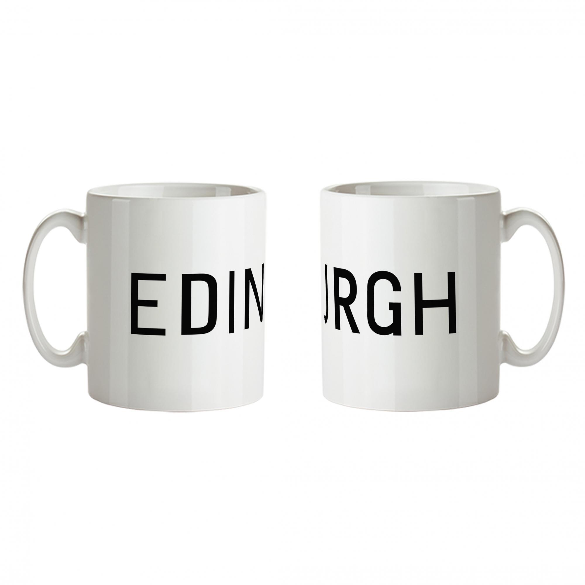 Edinburgh bus blind ceramic mug