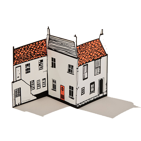Fife cottages fold out greeting card