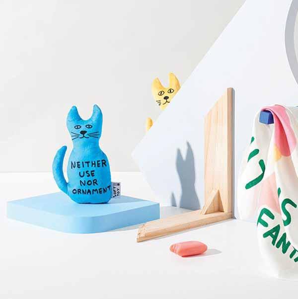 Ornament by David Shrigley cat soft toy