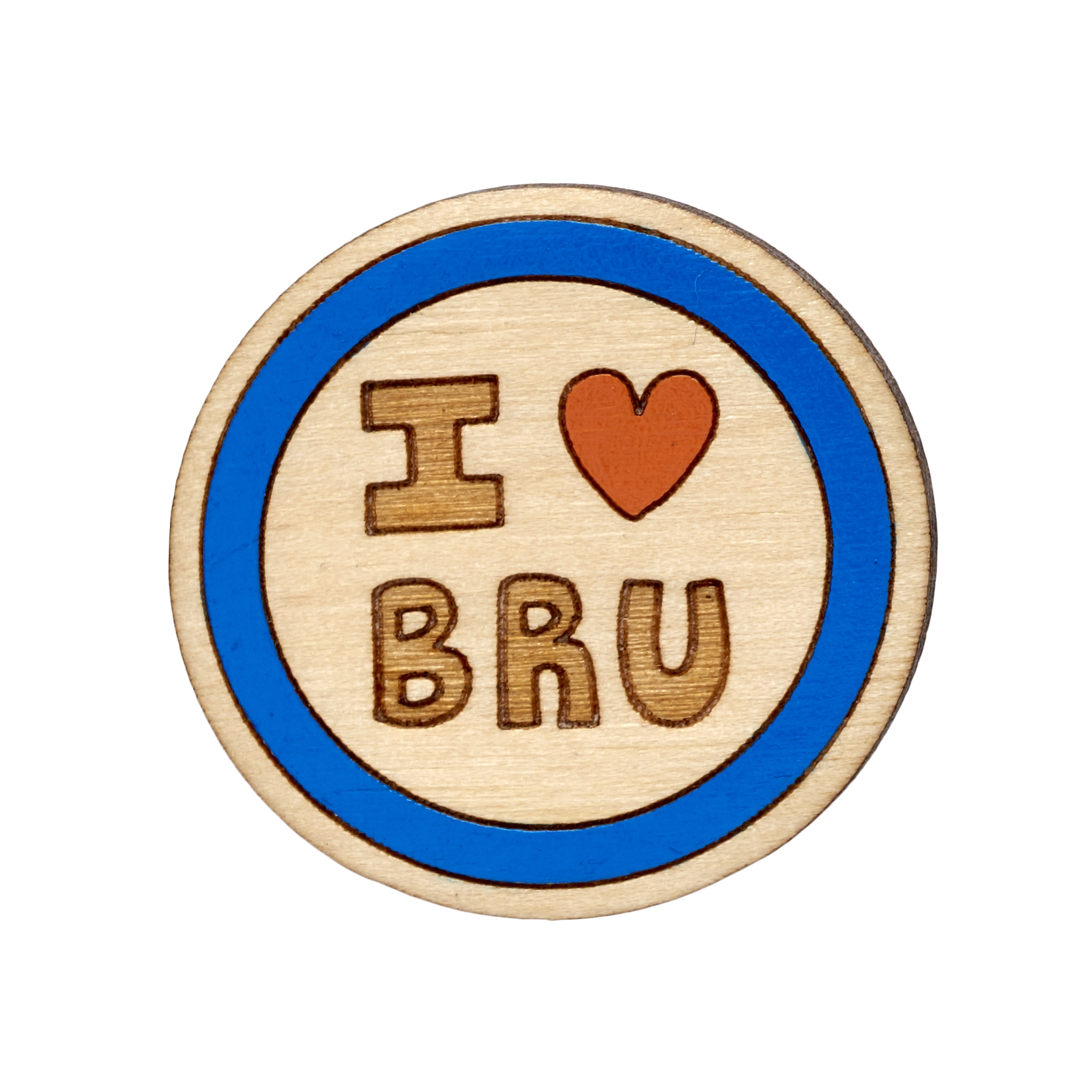 Twiggd I Heart Bru Wooden Badge