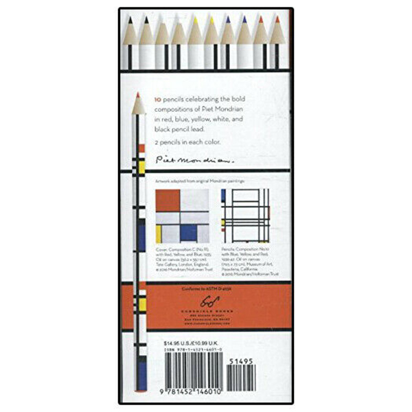 Piet Mondrian pencil set of 10
