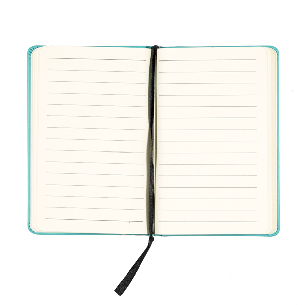 Embossed turquoise leather small lined notebook