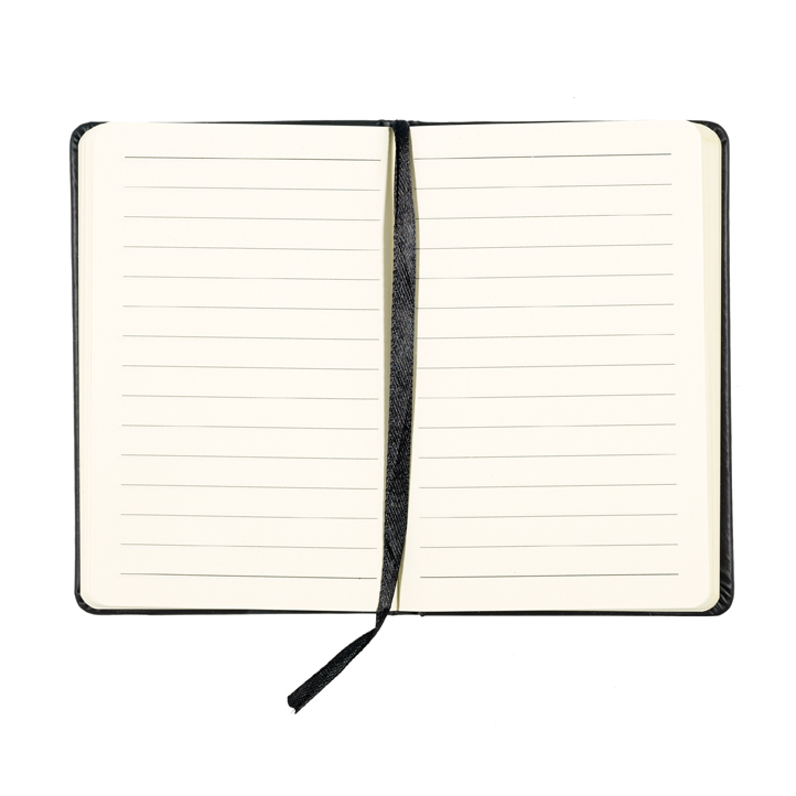 Embossed black leather small lined notebook