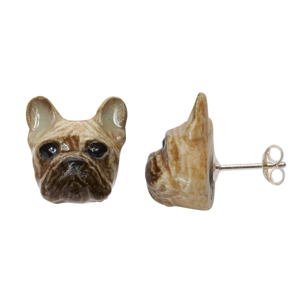 Fawn French bulldog porcelain earrings