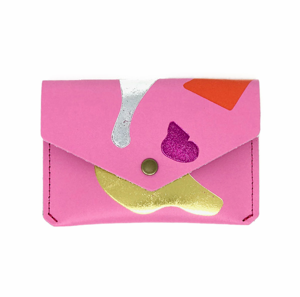 Abstract pink leather popper coin purse