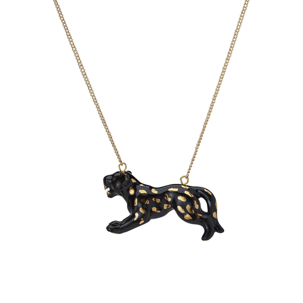 Leaping panther porcelain necklace