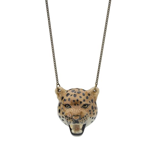 Roaring leopard's head cream porcelain necklace