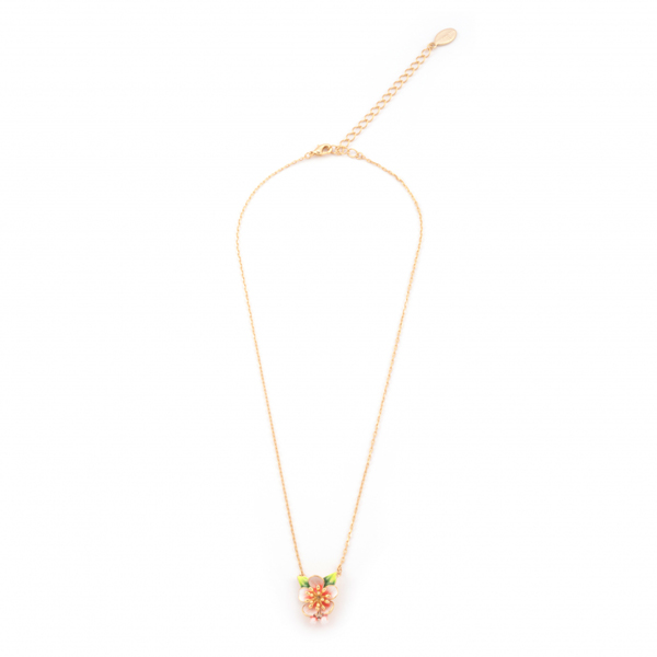 Apple blossom gold plated with hand-painted enamel necklace