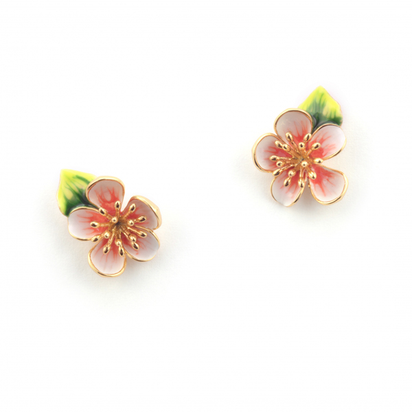 Apple blossom gold plated with hand-painted enamel stud earrings