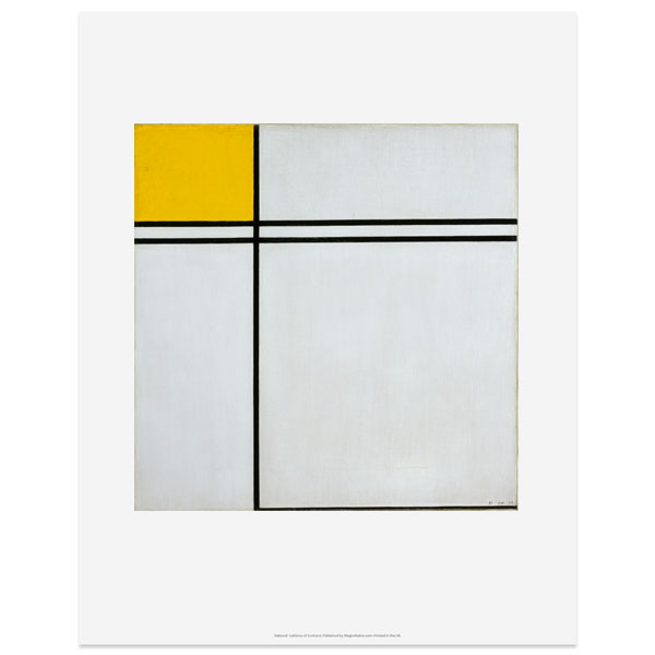 Composition with Double Line and Yellow Piet Mondrian Art Print