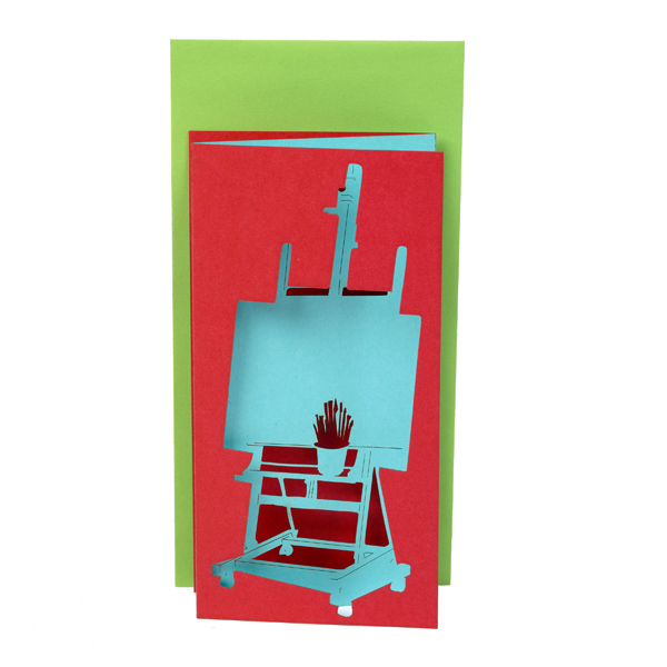 Artist's easel three layer greeting card