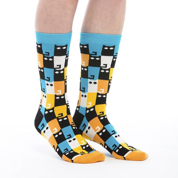 Meow colourful unisex cotton socks (size 7.5-11.5)