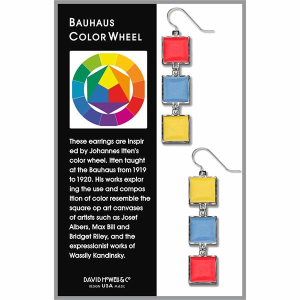 Bauhaus inspired colour wheel earrings