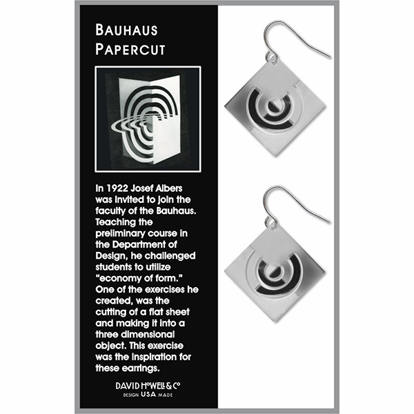 Bauhaus inspired papercut earrings