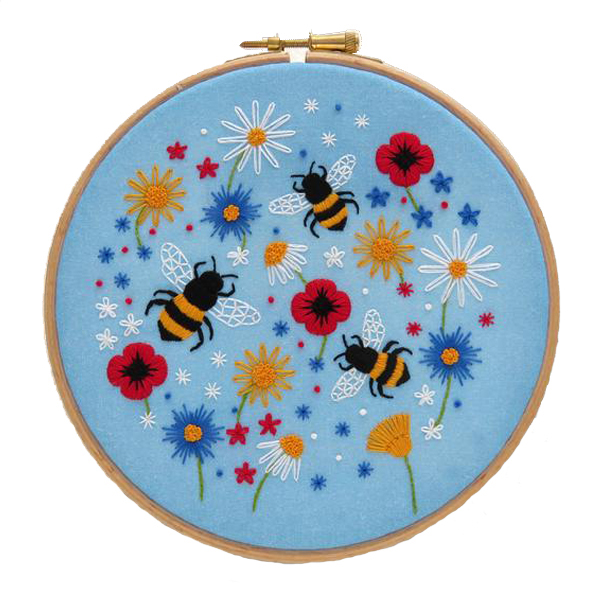 Bees and wildflowers hand embroidery kit