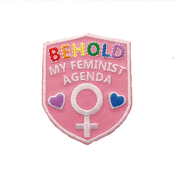 Behold my feminist agenda embroidered iron on patch