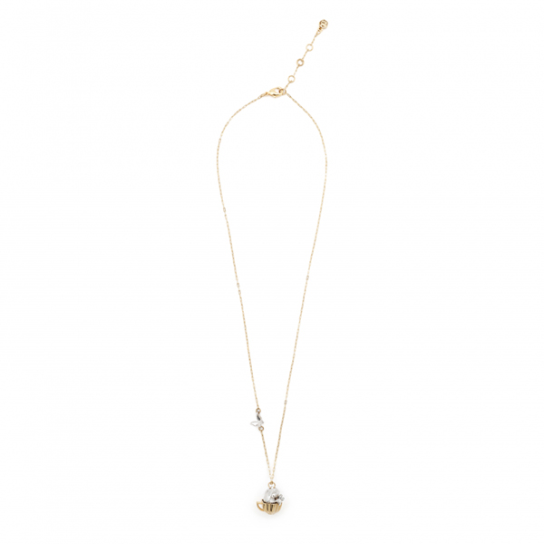 Mini rabbit tea party gold plated necklace