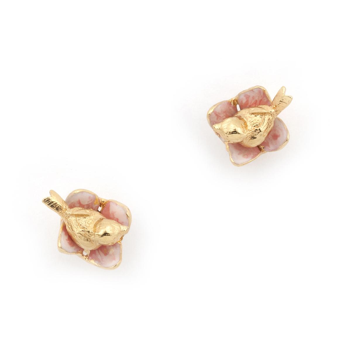 Bird nest gold stud earrings