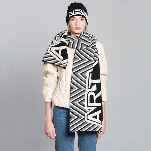 Black and white unisex lambswool blanket scarf