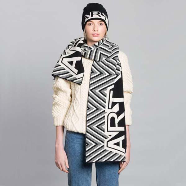 Black & White Unisex Lambswool Art Blanket Scarf by Green Thomas