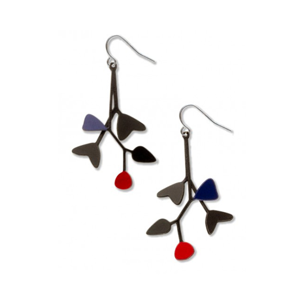 Black and red mobile drop earrings