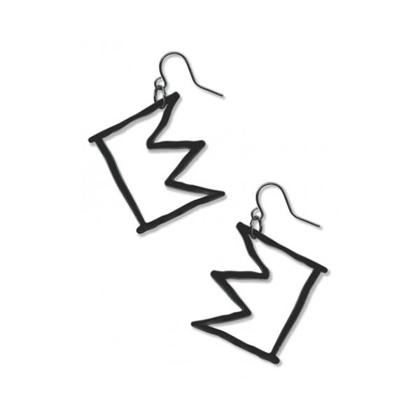 Black crown drop earrings