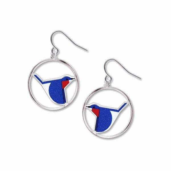 Bluebird by Charley Harper drop earrings