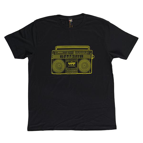 Boombox black large cotton t-shirt
