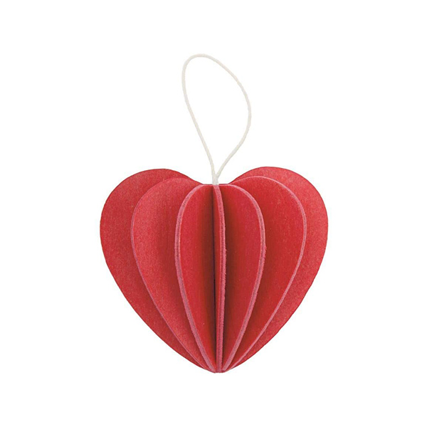 Bright red heart wooden flat pack Christmas decoration kit (4.5cm)