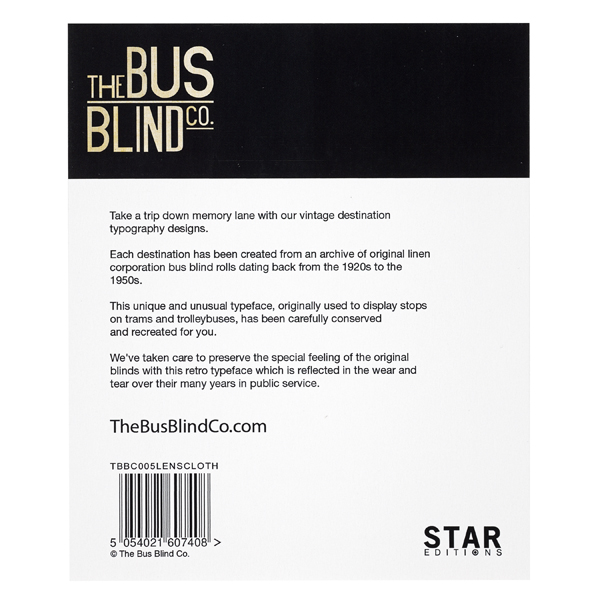 Edinburgh places A - Z bus blind lens cloth